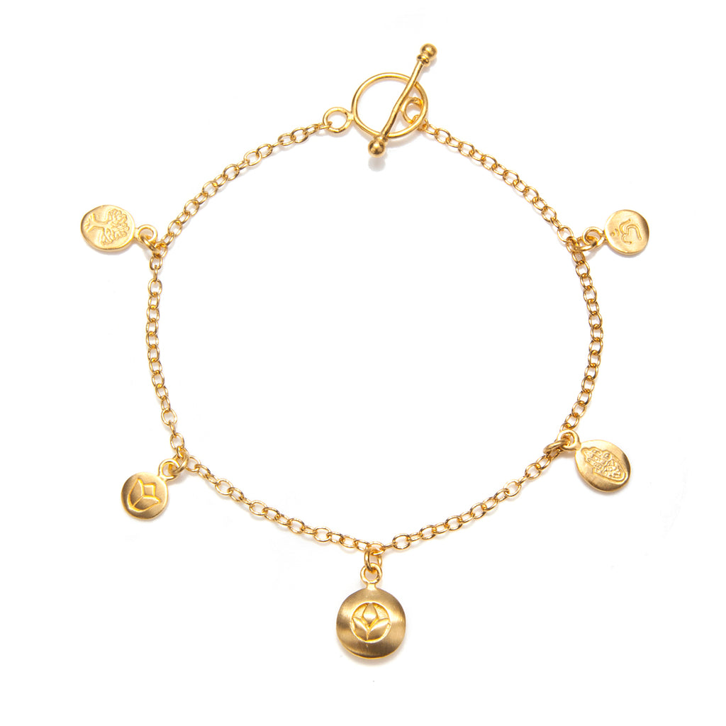 Gold Om, Hamsa And Lotus Charm Bracelet - Pieces Of You - Satya Jewelry