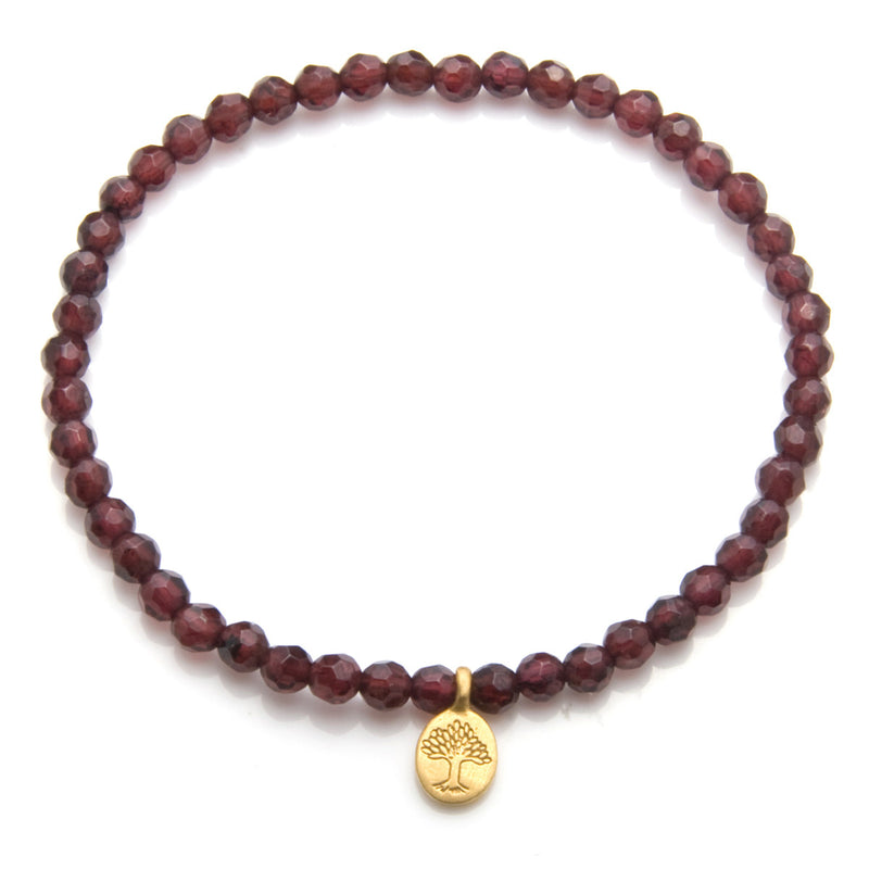 Gold Garnet Tree of Life Stretch Bracelet - Satya Online