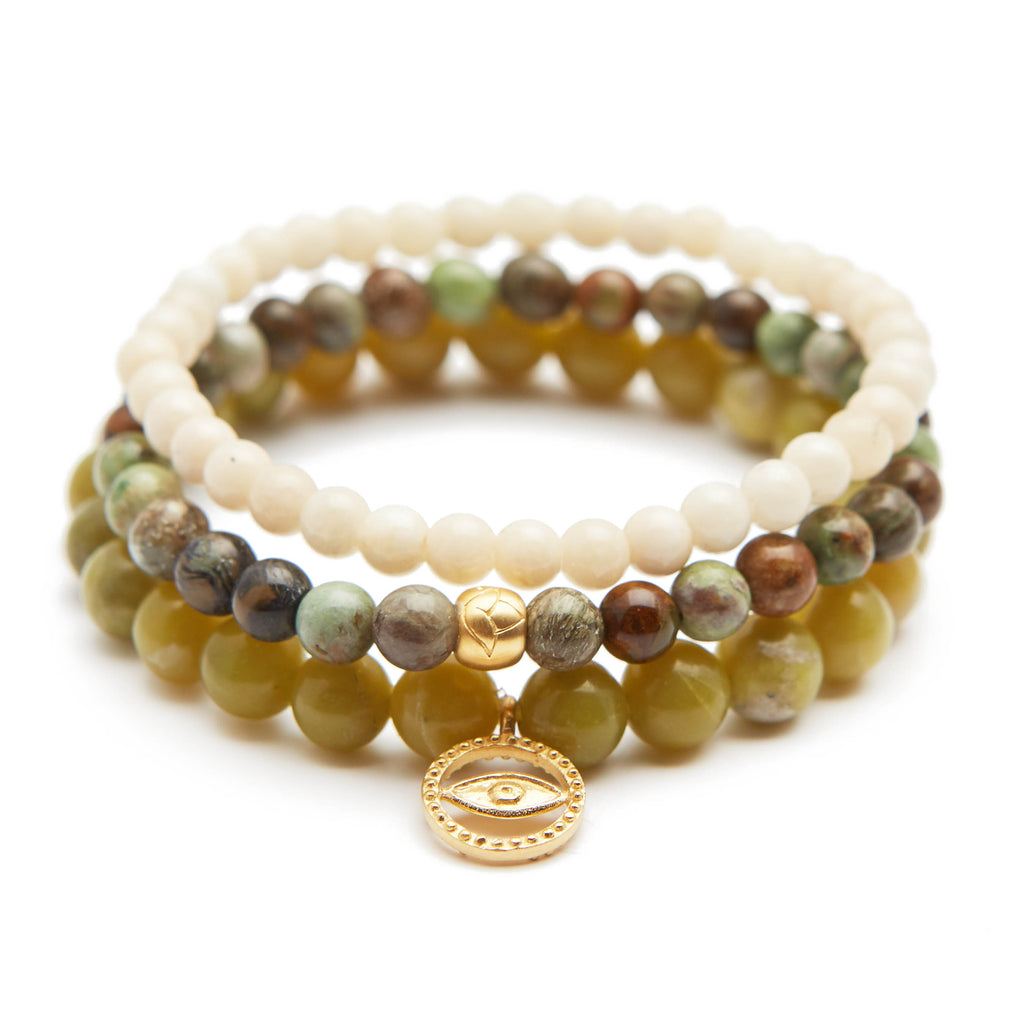 Eye and Lotus Bracelet Set - Satya Jewelry