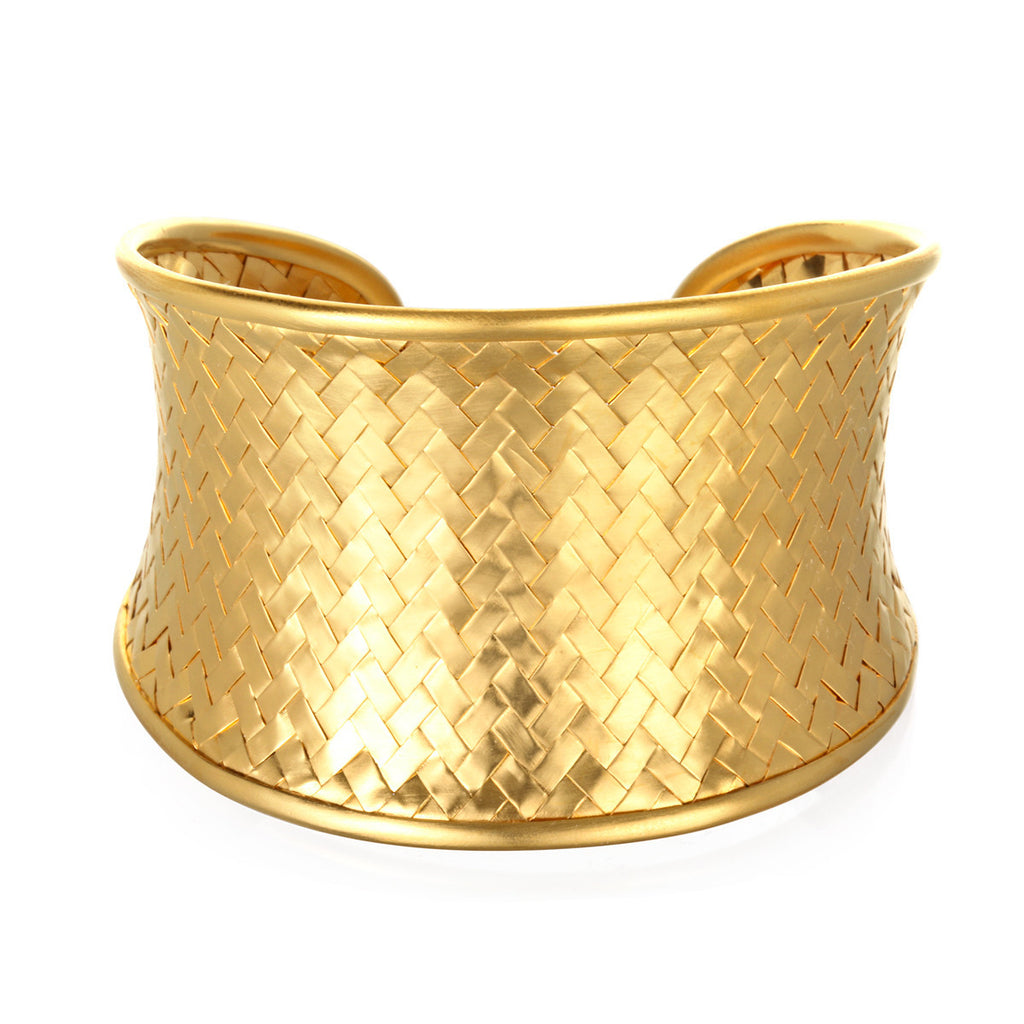 Gold Medium Basketweave Bracelet Cuff - Satya Online