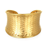 Gold Medium Basketweave Bracelet Cuff - Satya Jewelry