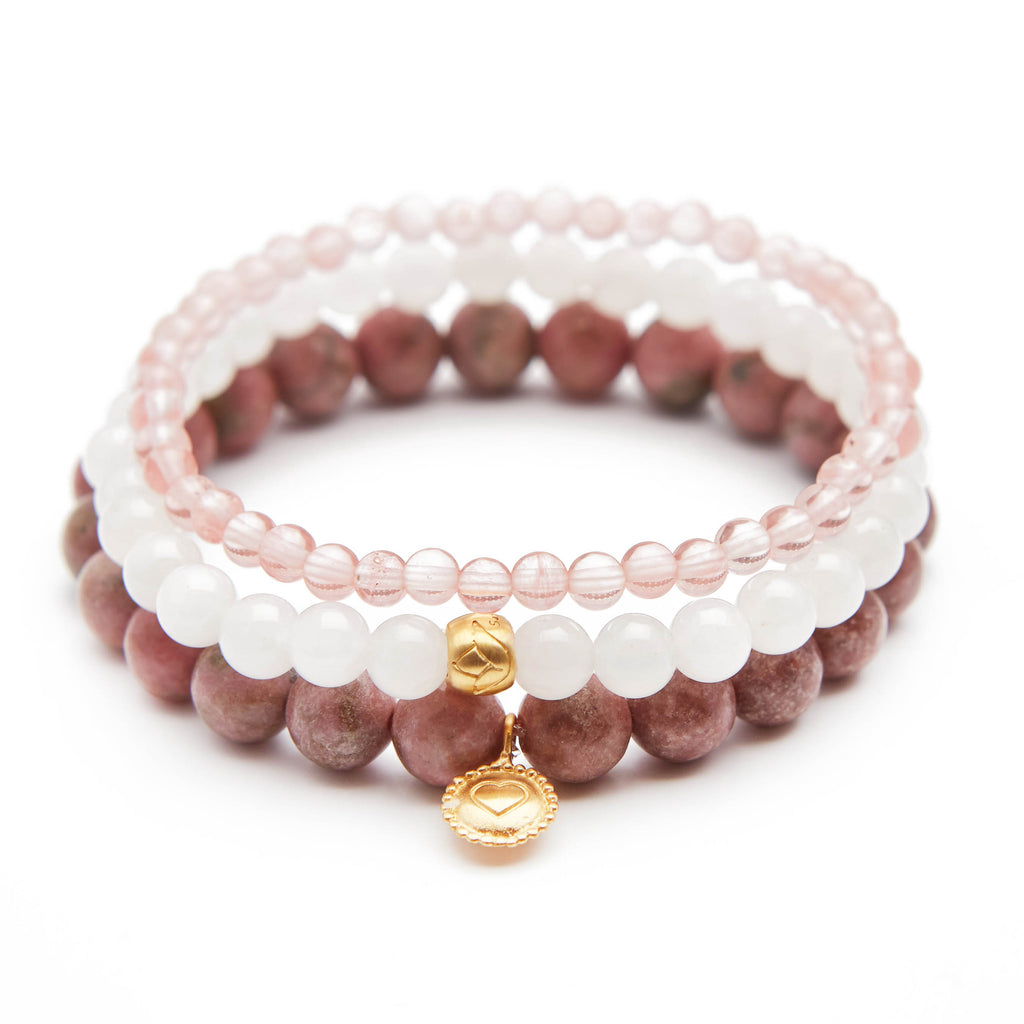 Heart and Lotus Bracelet Set - Satya Jewelry