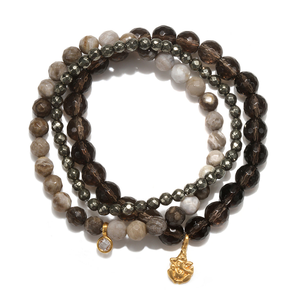 Clarity of Purpose Stretch Bracelet Trio - Satya Jewelry