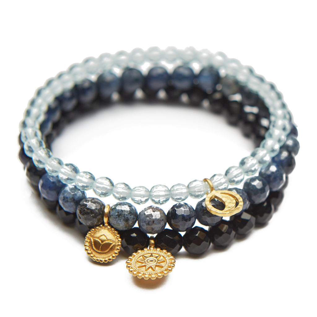 Lotus Moon Mandala Set Bracelet - Satya Jewelry