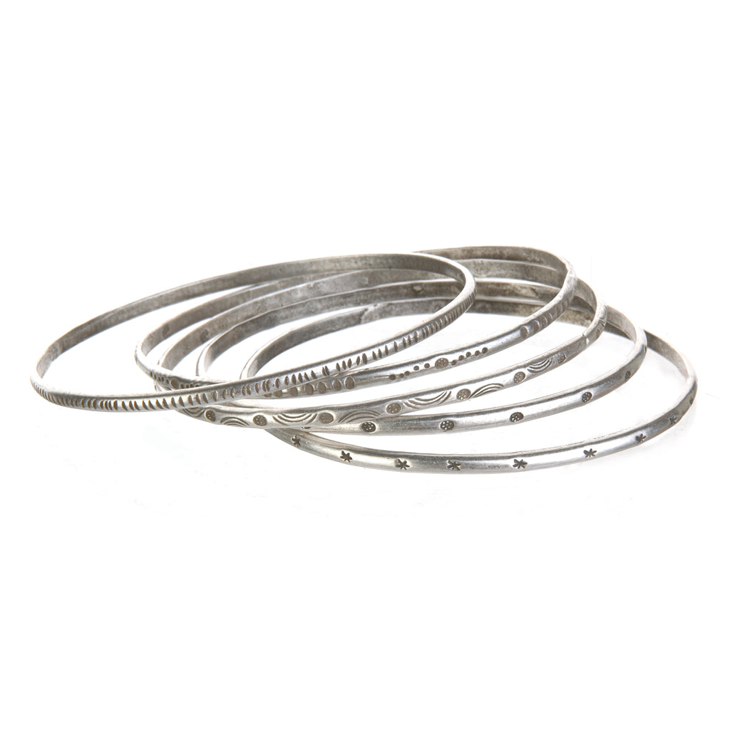 Silver Etched Bracelet Bangle - Melody - Satya Jewelry