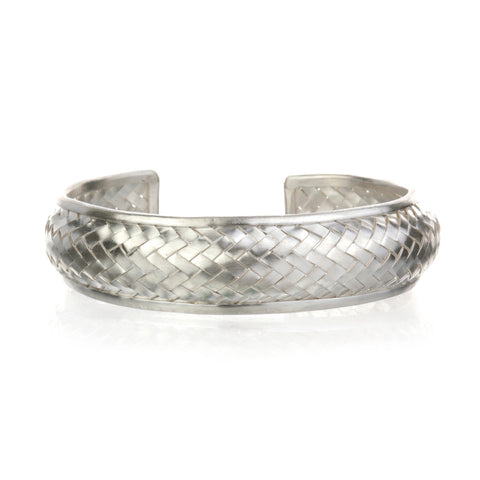 5d858bdcd21 Small Silver Basketweave Bracelet Cuff.  149.00. Small Silver Bangle  Bracelet Cuff - Something Special