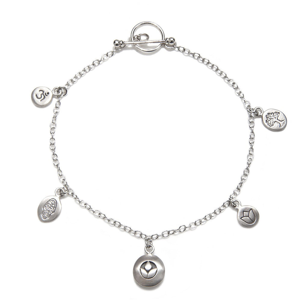 Silver Om, Hamsa, Lotus Charm Bracelet - Pieces Of You