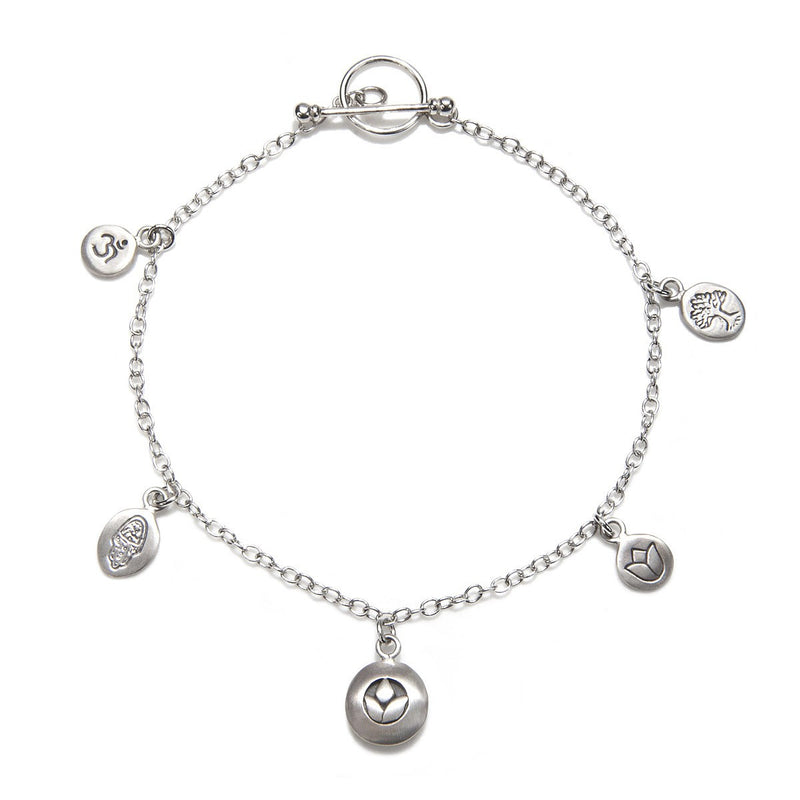 Silver Om, Hamsa, Lotus Charm Bracelet - Pieces Of You - Satya Jewelry