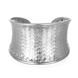 Medium Silver Basketweave Bracelet Cuff - Satya Jewelry