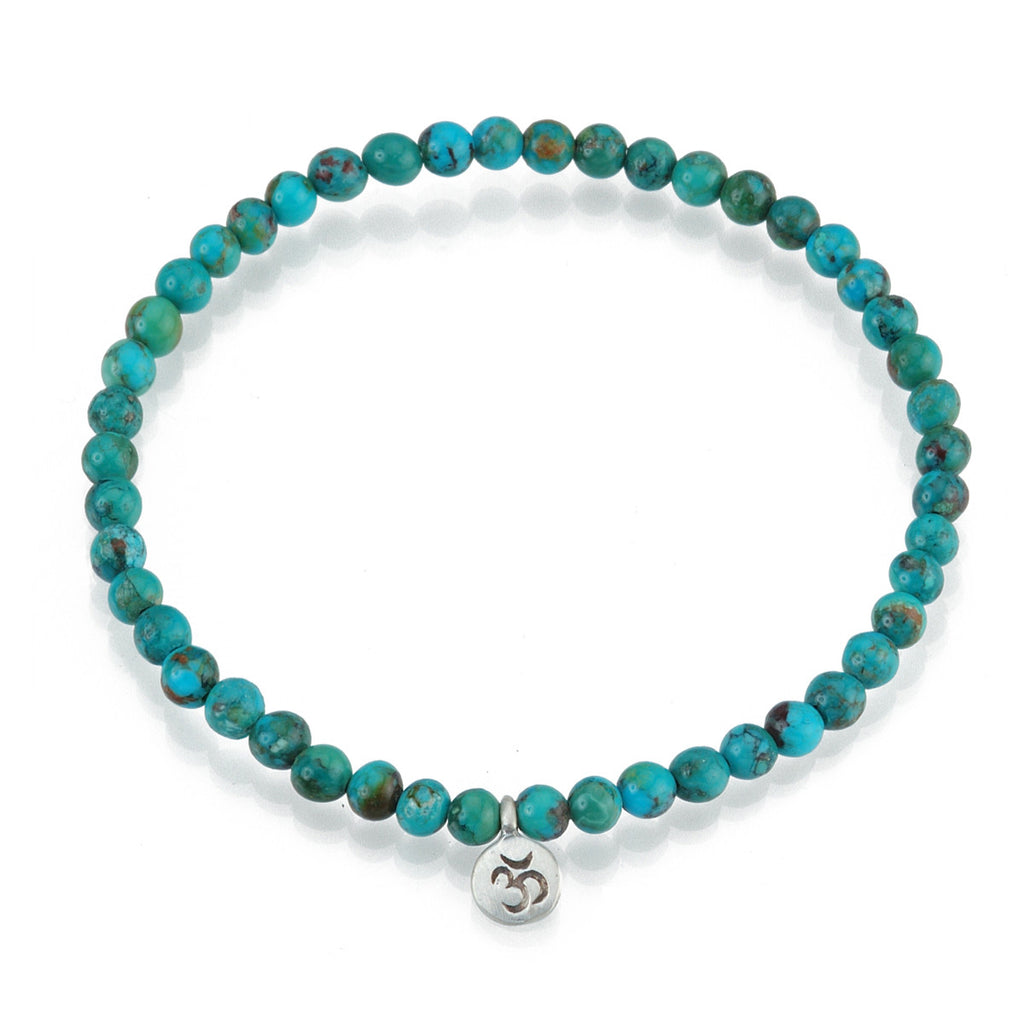 Silver Turquoise Om Stretch Bracelet - Inner Peace - Satya Jewelry