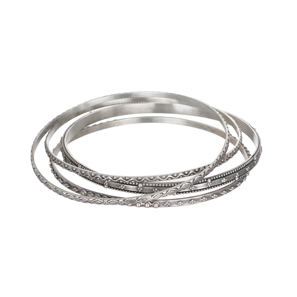 Bohemian Silver Bangle Set - Satya Jewelry