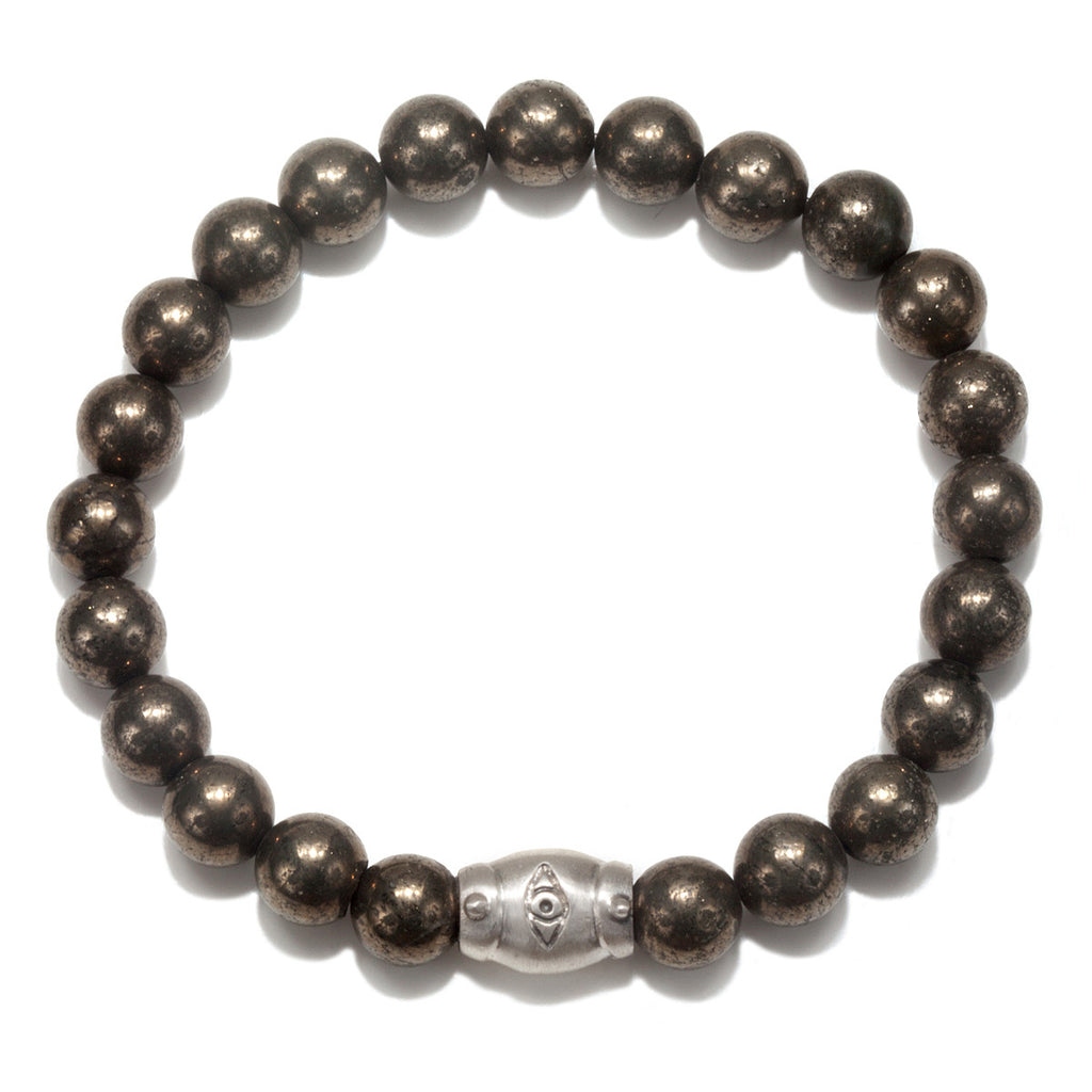 Men's Pyrite Eye Pendant Stretch Bracelet