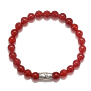 Men's Carnelian Om Pendant Stretch Bracelet - Satya Jewelry