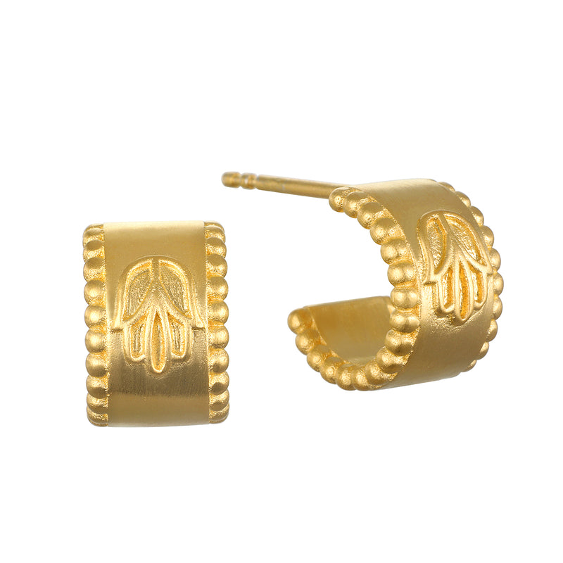 Cradled in Protection Gold Huggie Earrings
