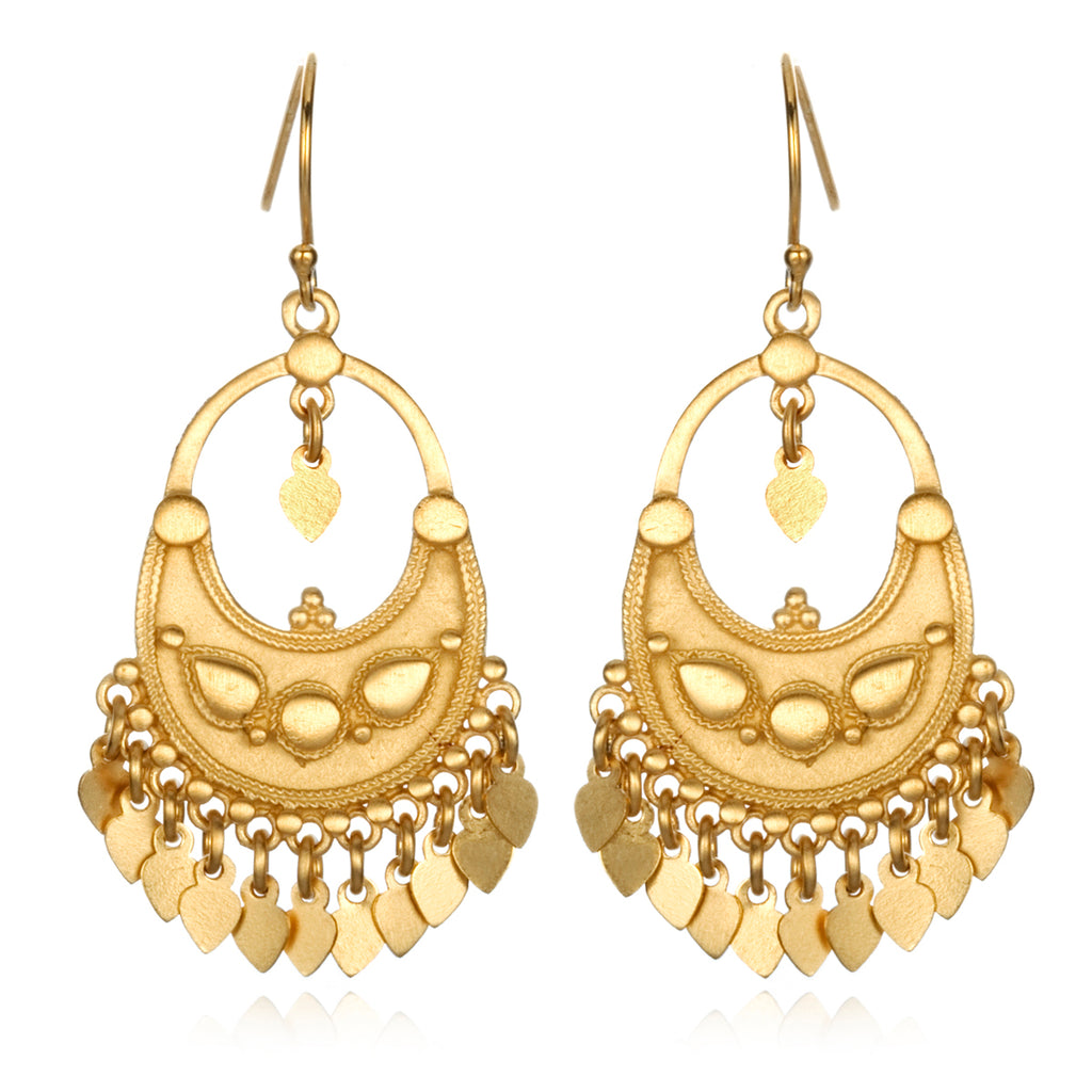Gold Veils Earrings - Petal Chandelier - Satya Jewelry