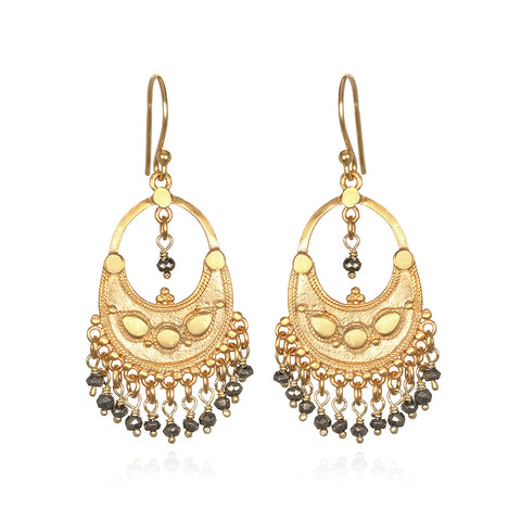 Half Moon Mandala Earrings - Gold