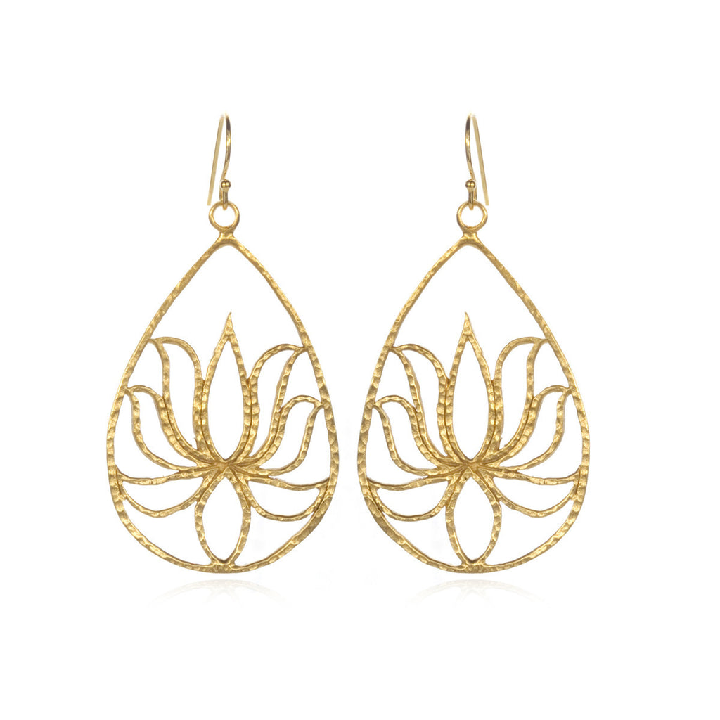 Gold Lotus Earrings - Teardrop Lotus