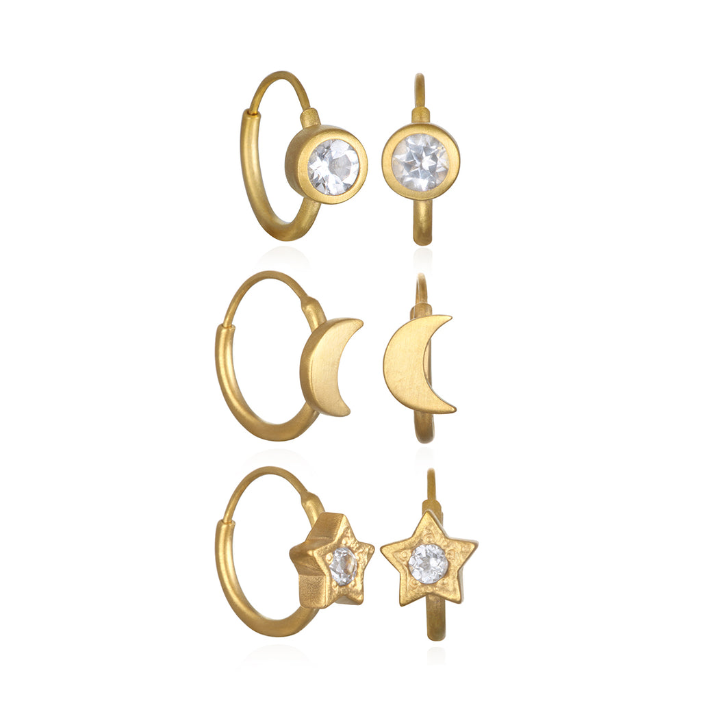 Spiritual Compass Gold Earring Set