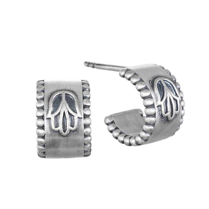 Cradled in Protection Silver Huggie Earrings