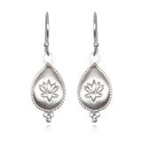 Silver Lotus Drop Earring