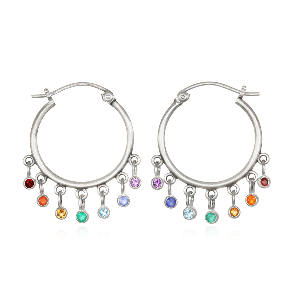 Ebb and Flow Silver Chakra Earrings