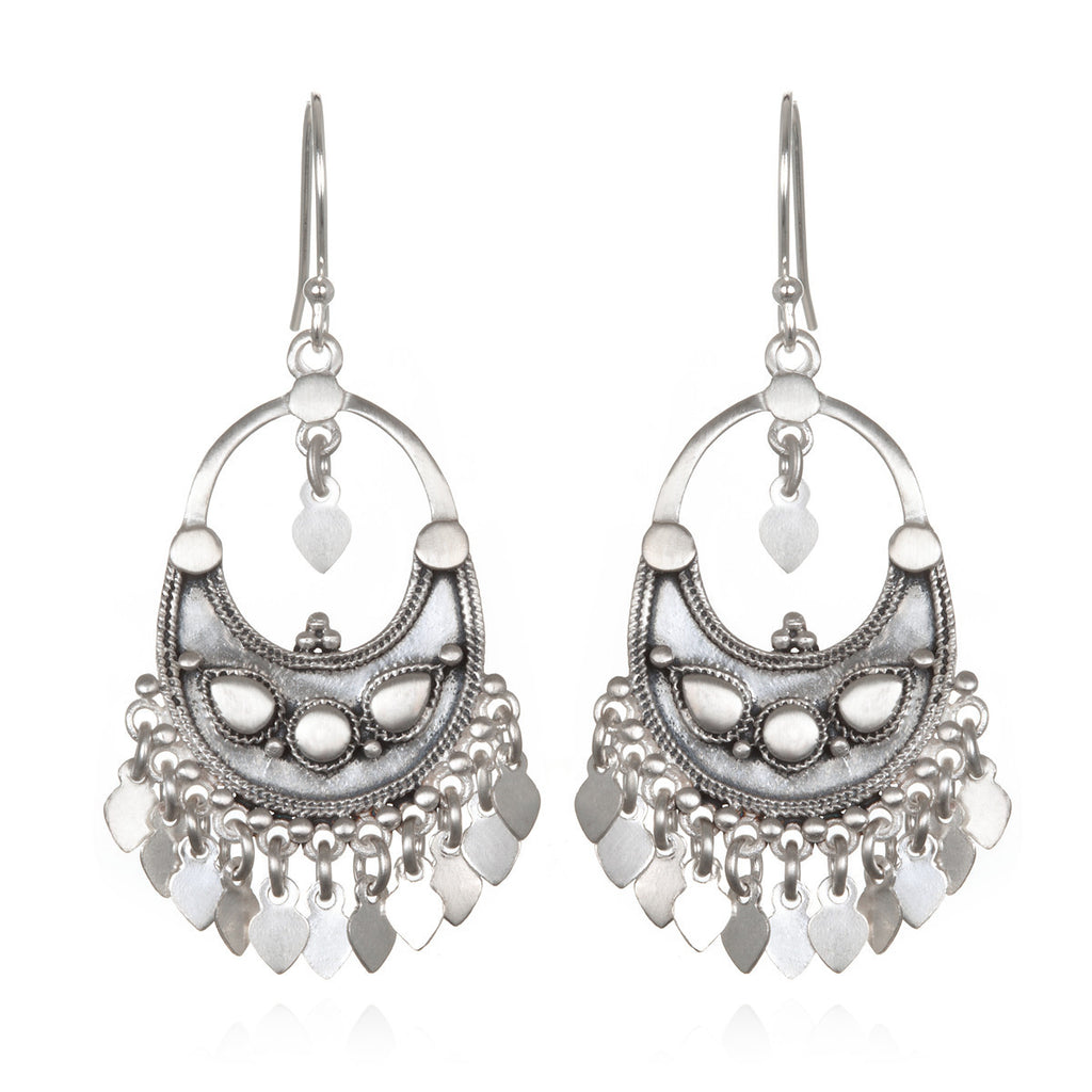 Silver Veils - Petal Chandelier Earrings