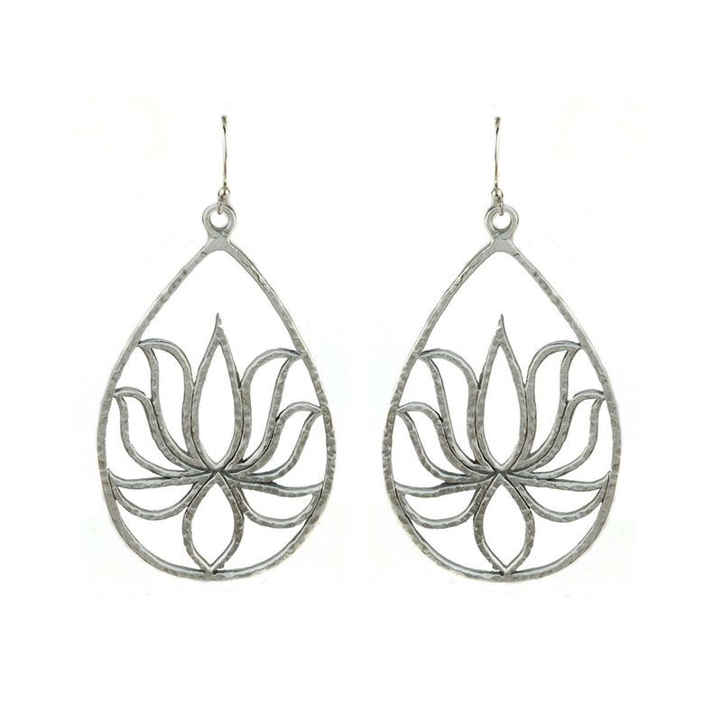 Silver Lotus Earrings - Teardrop Lotus - Satya Jewelry