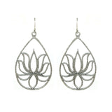 Silver Lotus Earrings - Teardrop Lotus
