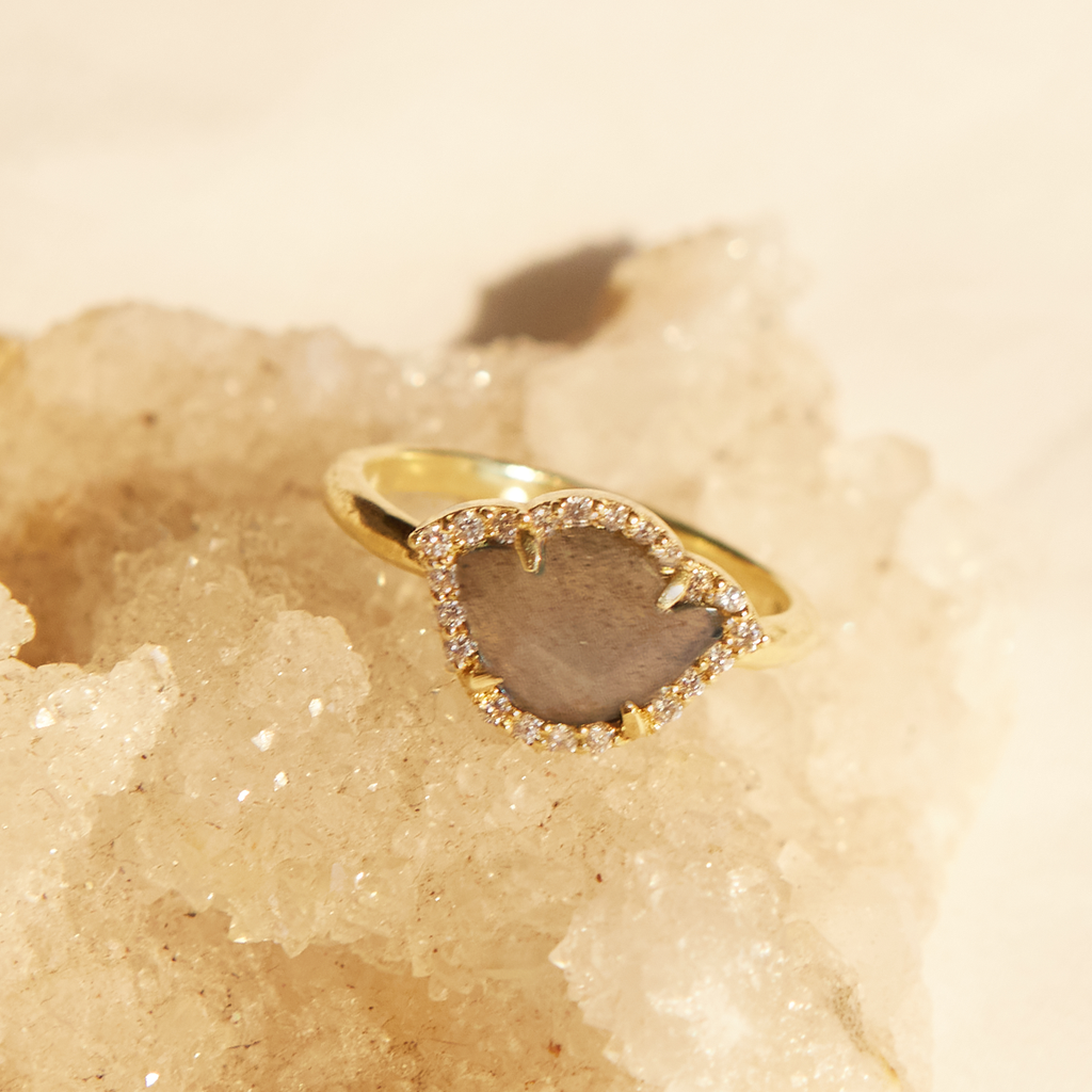 Soaring Imagination Labradorite and White Diamond Ring
