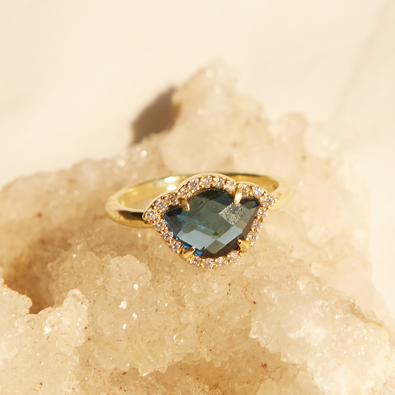 Love in Abundance London Blue Topaz and White Diamond Ring