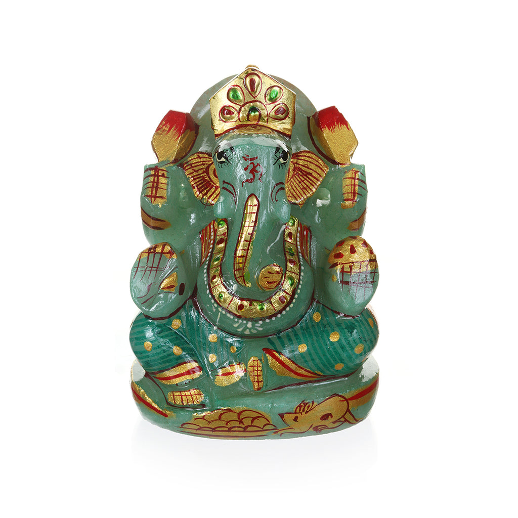 Sitting Ganesha Green Jade - Satya Jewelry