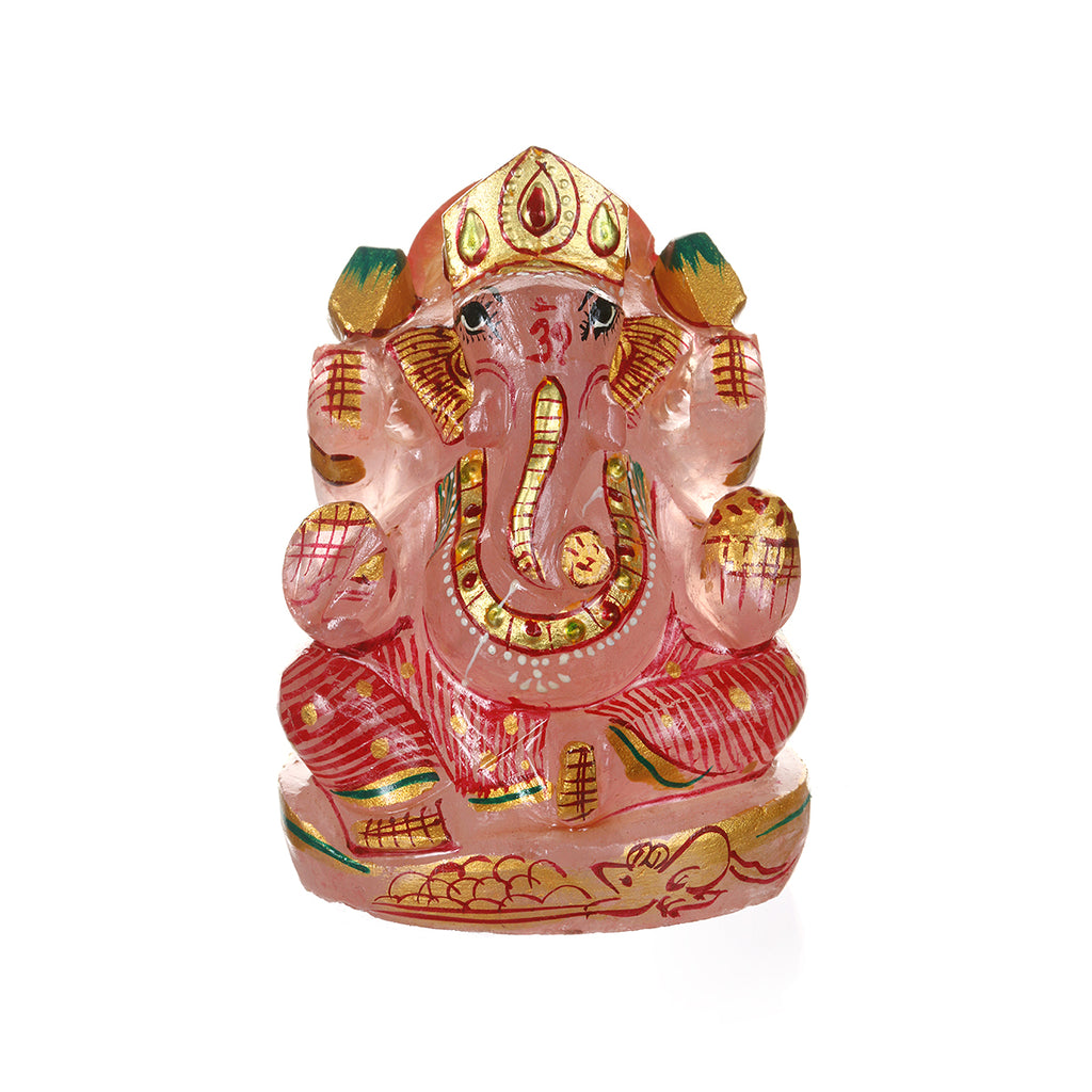 Ganesha Hindu God, Rose Quartz Statue - Satya Jewelry
