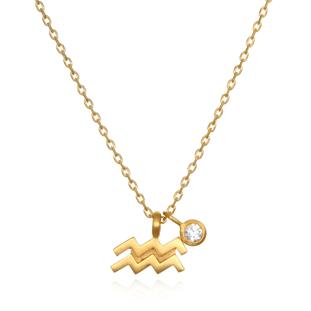 The AstroTwins Aquarius Zodiac Necklace - Satya Jewelry