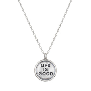 Life Is Good Silver Coin Necklace