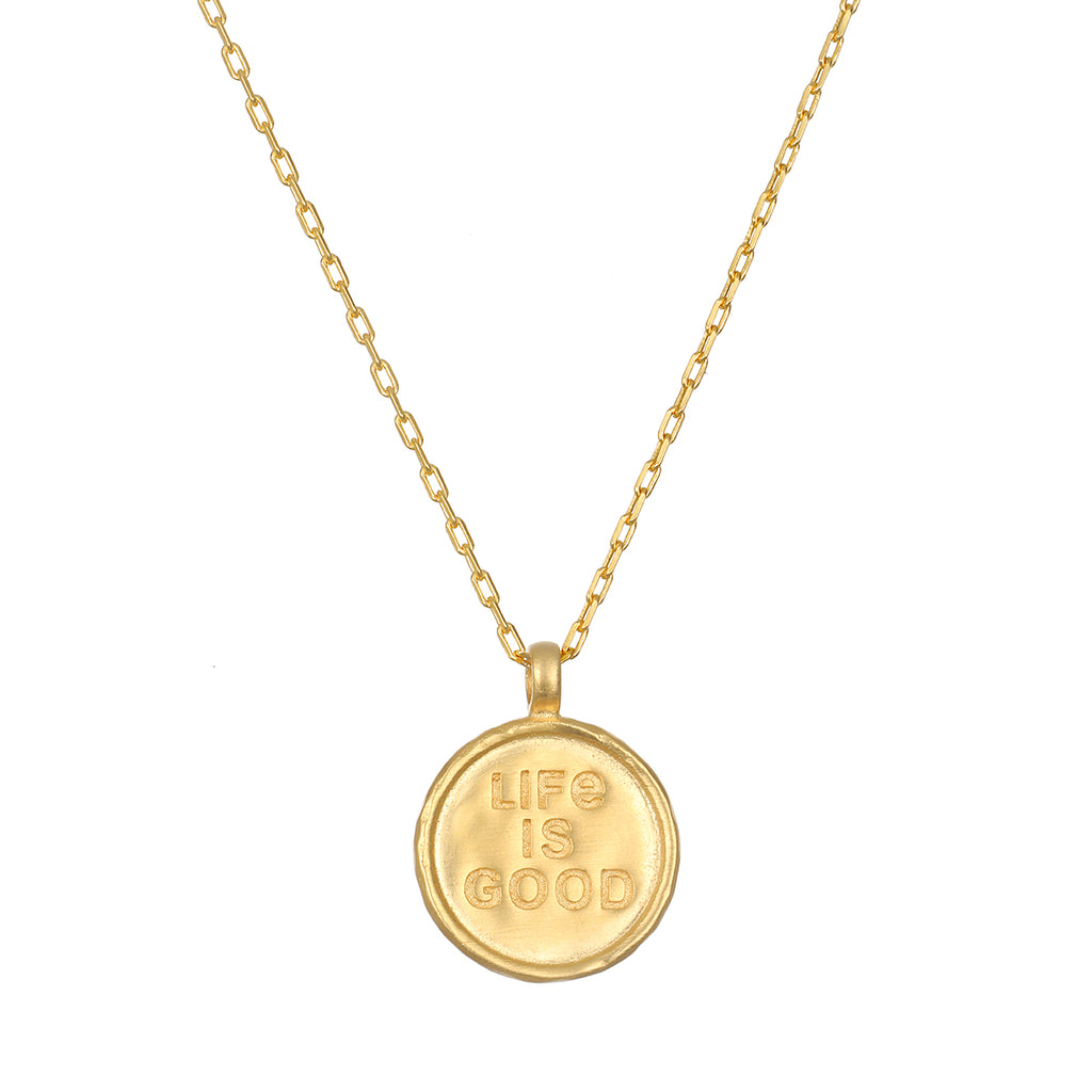 Life Is Good Gold Coin Necklace