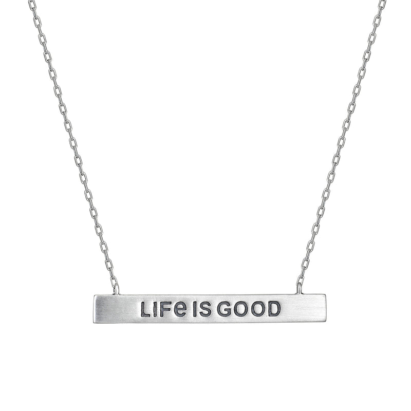 Life Is Good Silver Bar Necklace