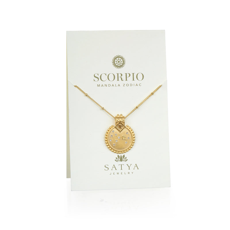Mandala Zodiac Scorpio Citrine Necklace - Satya Jewelry
