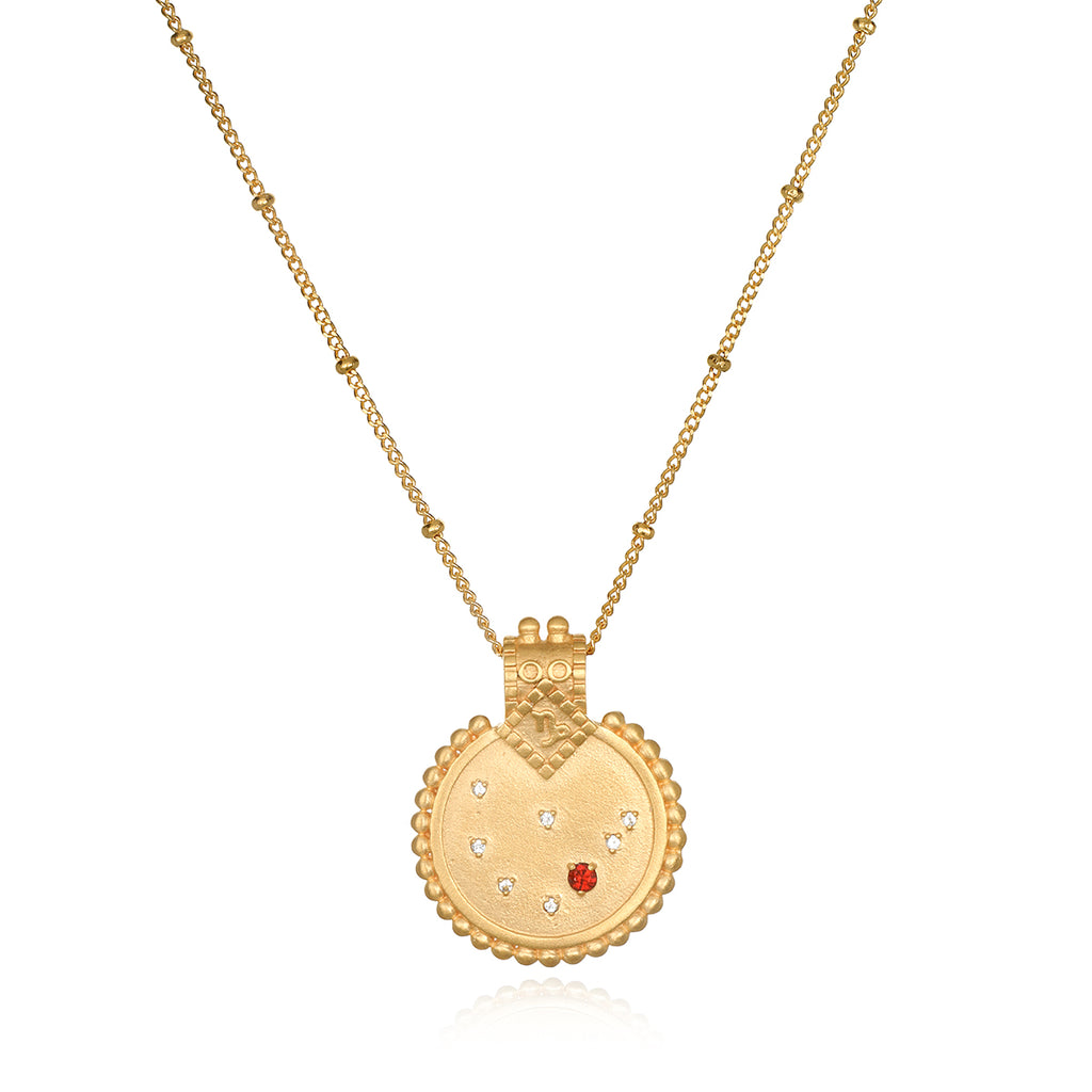 Mandala Zodiac Capricorn Red Garnet Necklace - Satya Jewelry