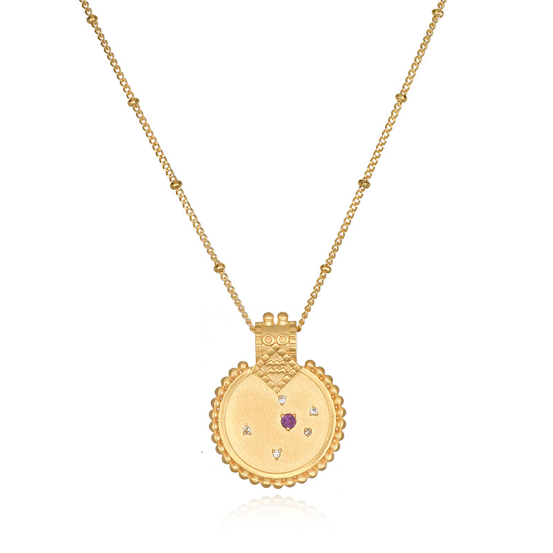 Mandala Zodiac Aquarius Amethyst Necklace - Satya Jewelry