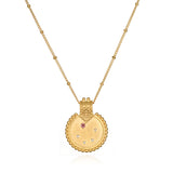 Mandala Zodiac Libra Pink Tourmaline Necklace - Satya Jewelry