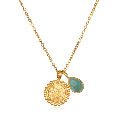 Mandala Birthstone Necklace - August
