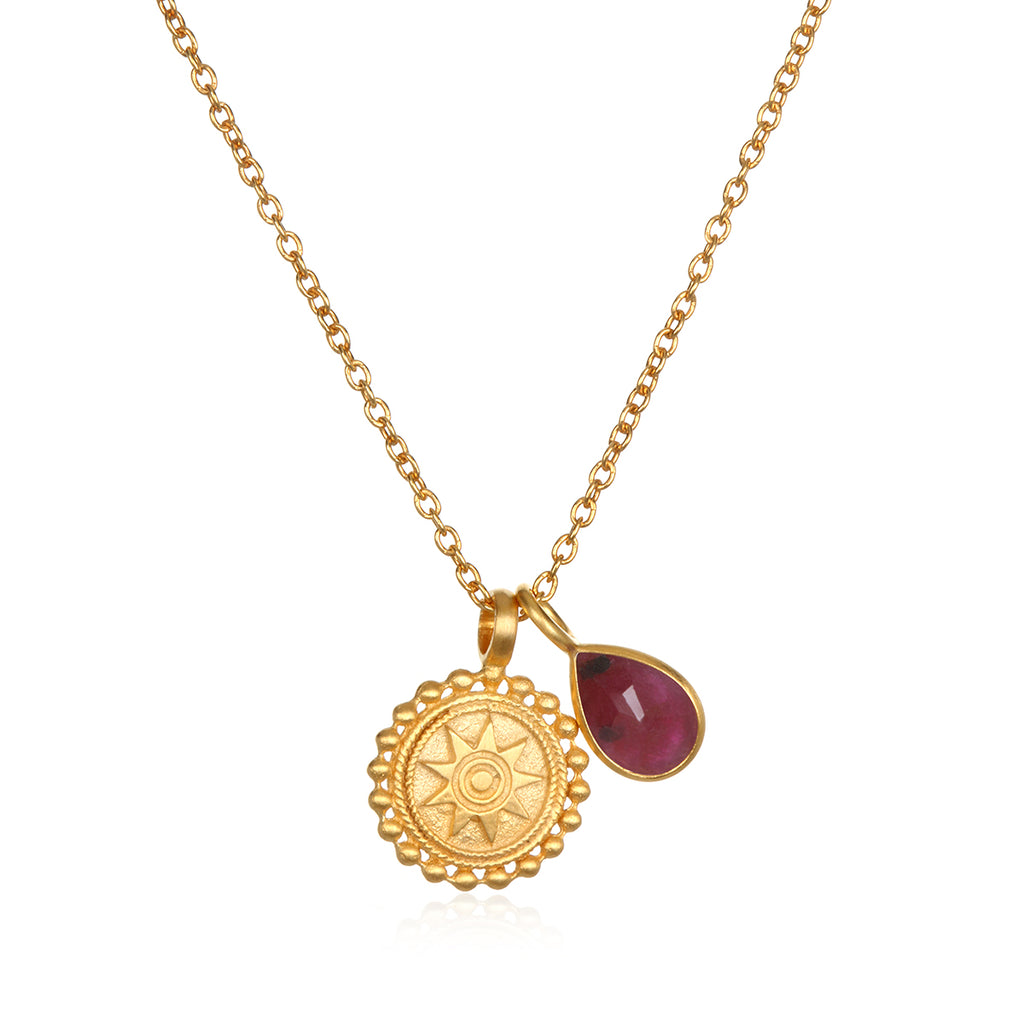 Mandala Birthstone Necklace - July - Satya Jewelry