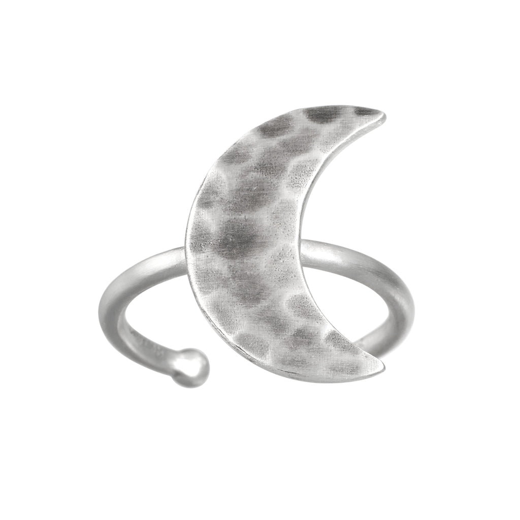 Yoga Girl Silver Little Moon Ring - Satya Jewelry