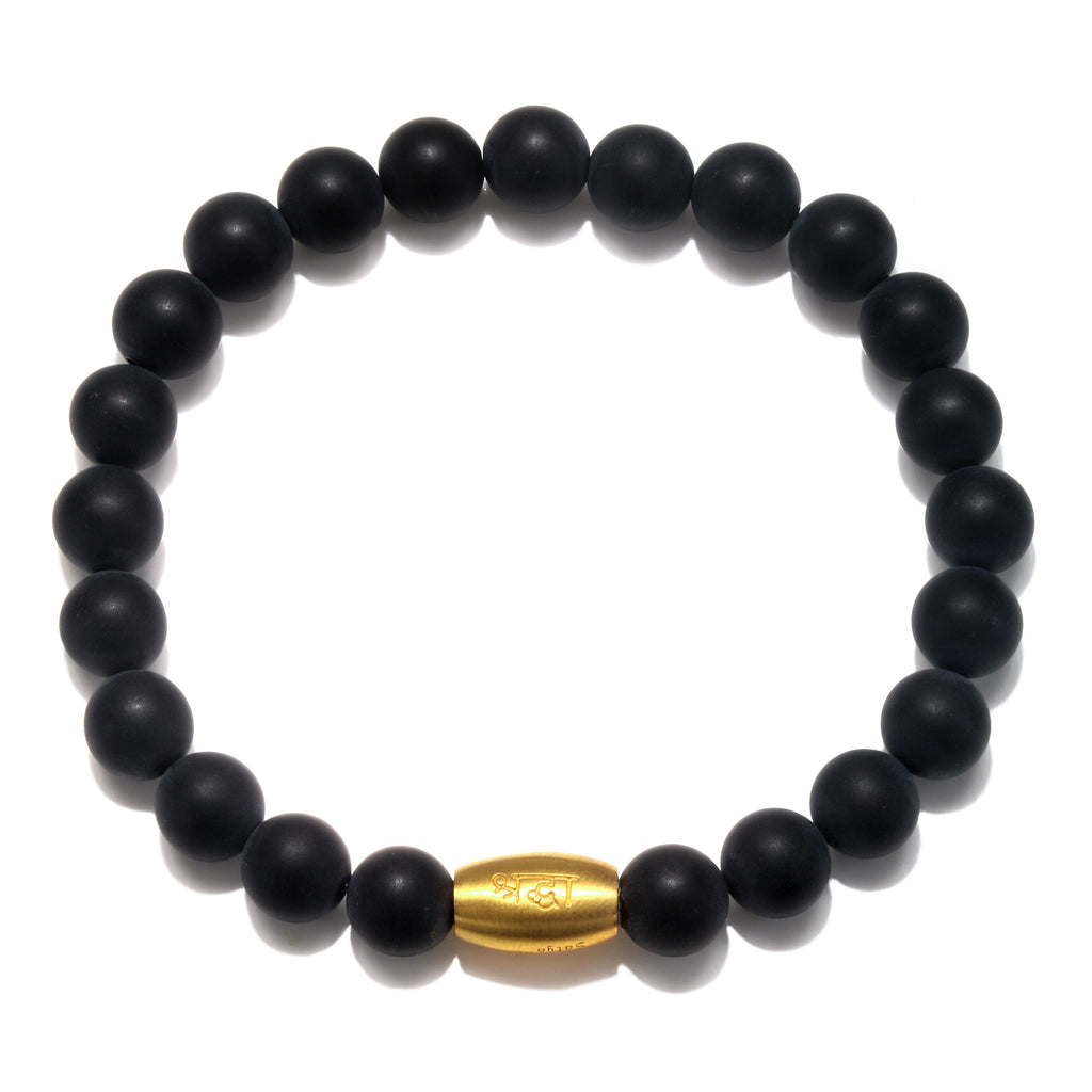 Enduring Faith Black Onyx Mens Stretch Bracelet - Satya Jewelry