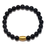 Enduring Faith Black Onyx Mens Stretch Bracelet