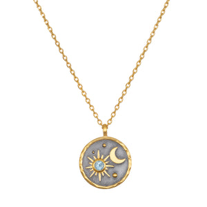 Celestial Birthstone Necklace- March