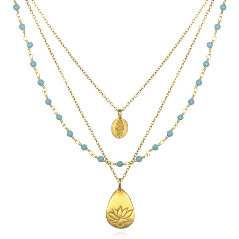 Gold Onyx Tree And Lotus Thrive Necklace