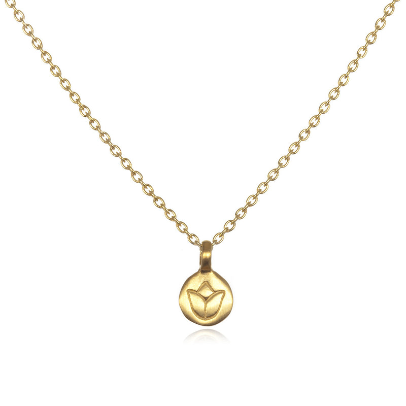 Gold Mini Lotus Necklace - Satya Jewelry
