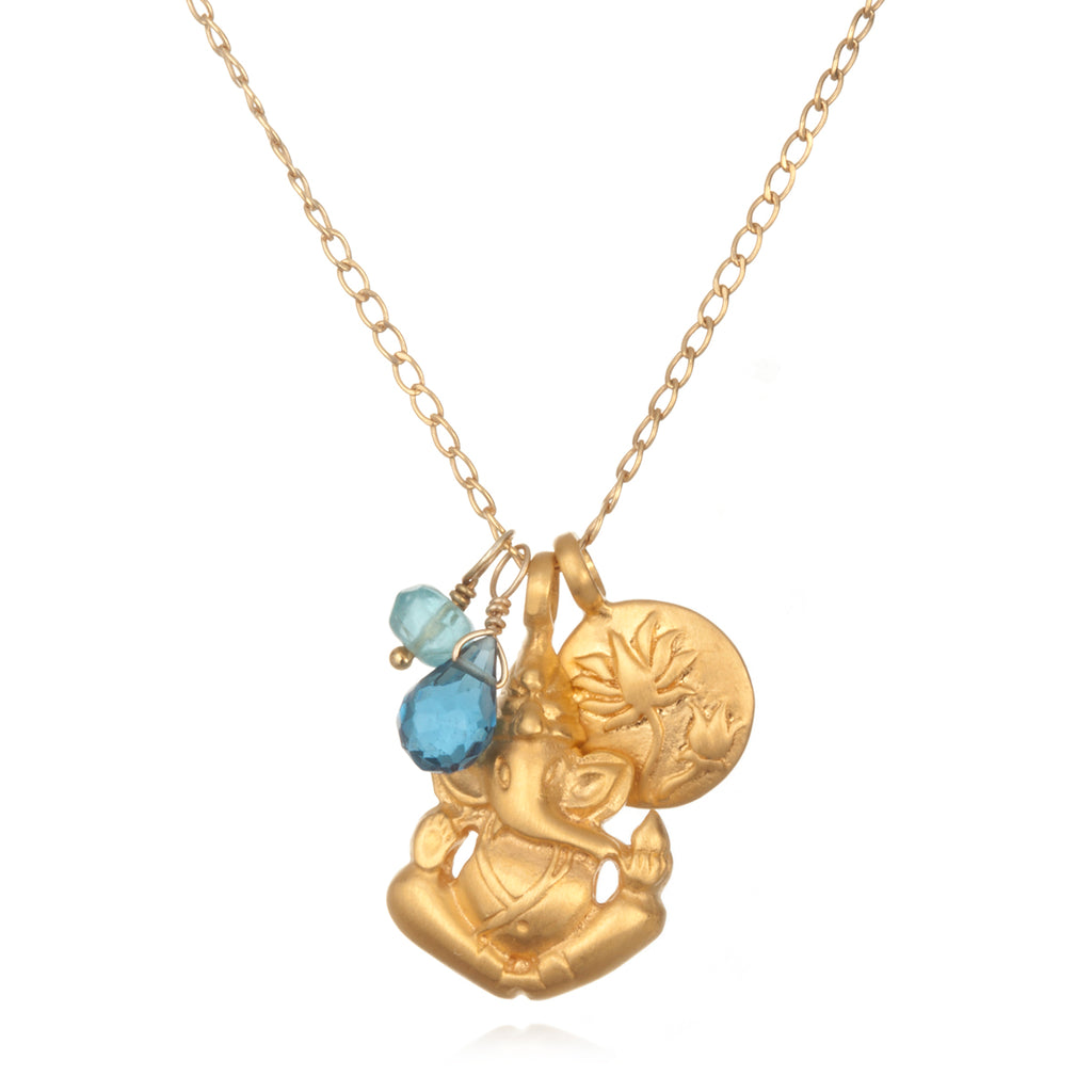 Blue Topaz Onwards Ganesha Necklace - Satya Jewelry