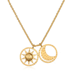 Sun and Moon Gold Necklace - Satya Jewelry